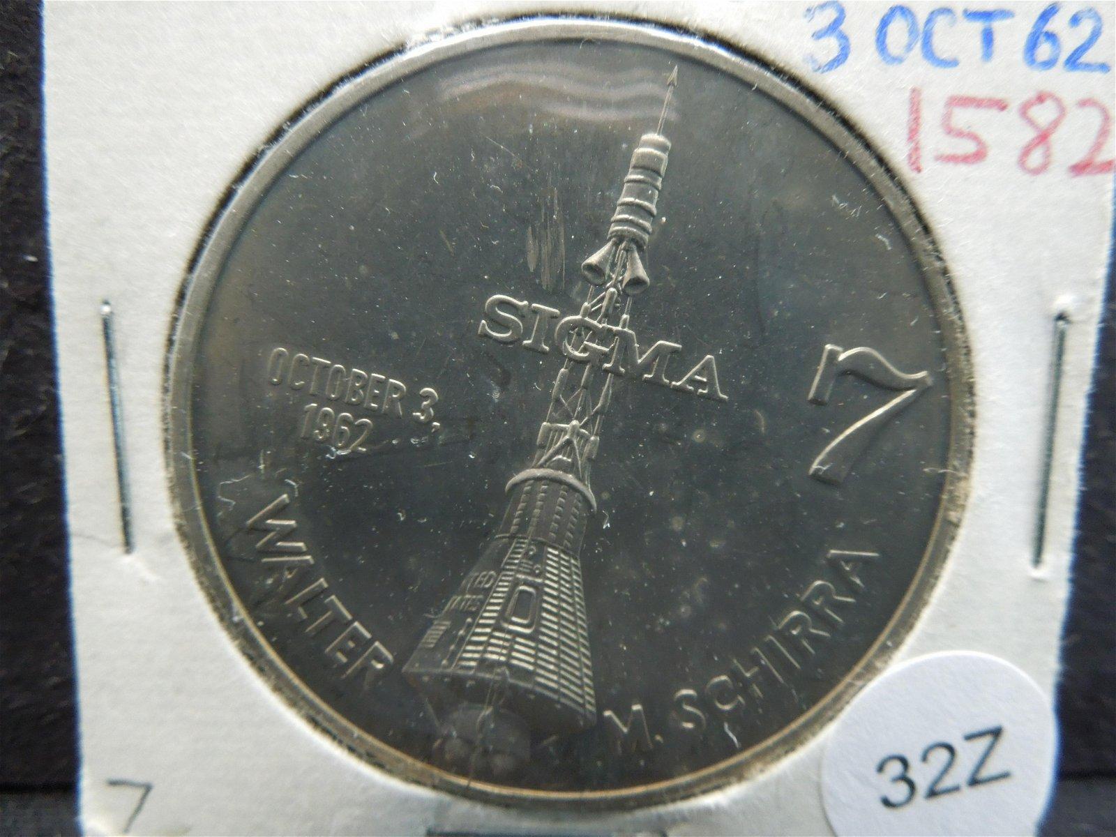 Walter M. Schirra Medal.  October 3, 1962.  Mercury