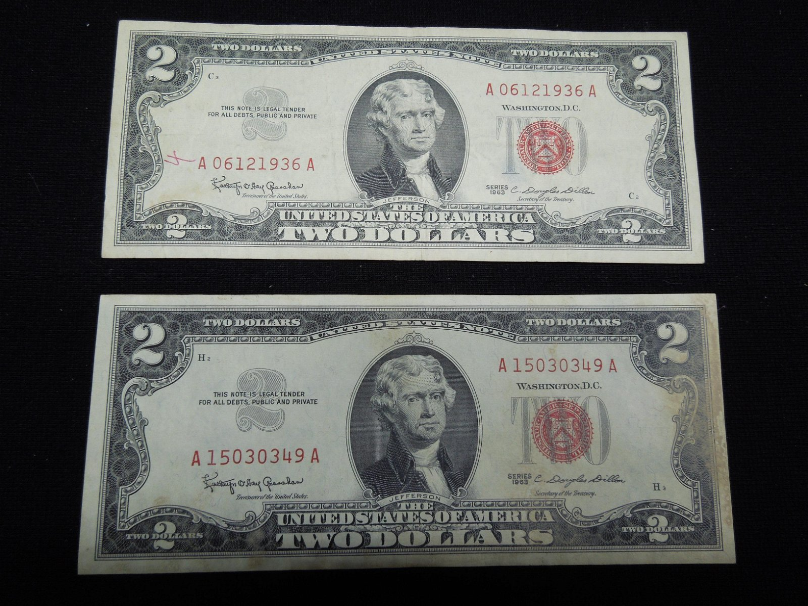 Two 1963 $2 Red Seal United States Notes.