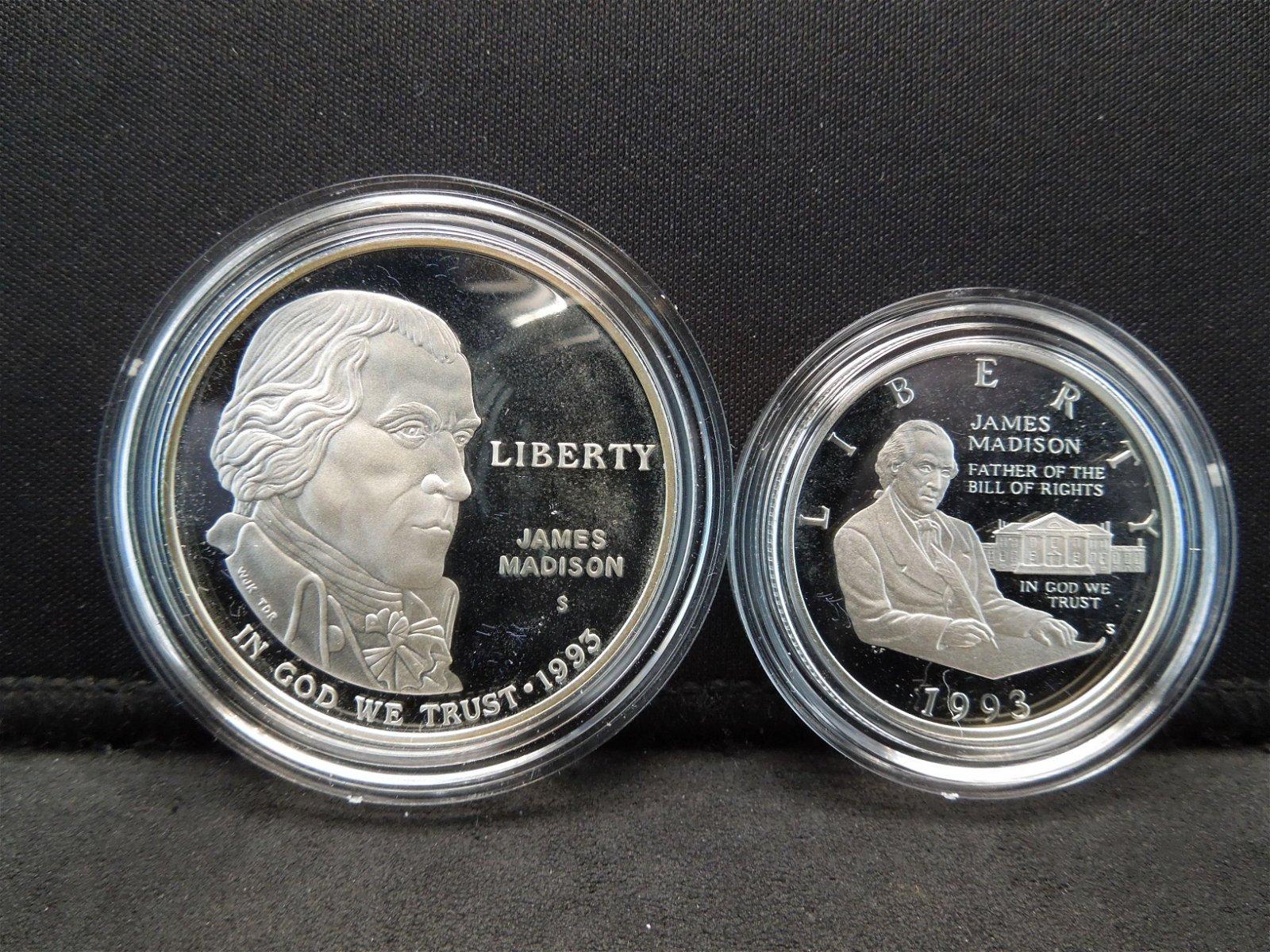 1993-S 2 Coin Bill of Rights Commemorative Silver