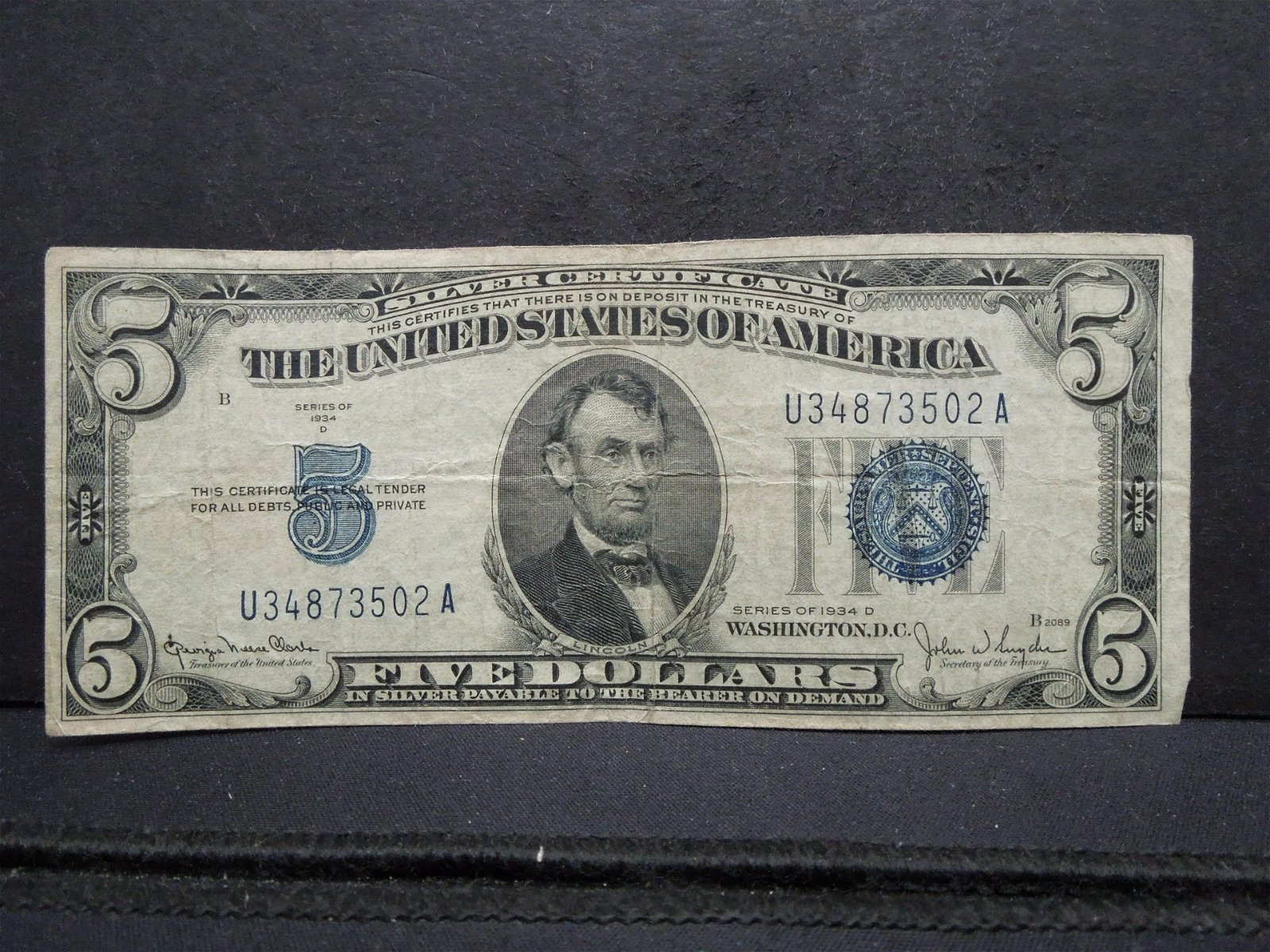 1934 D Five Dollar Silver Certificate