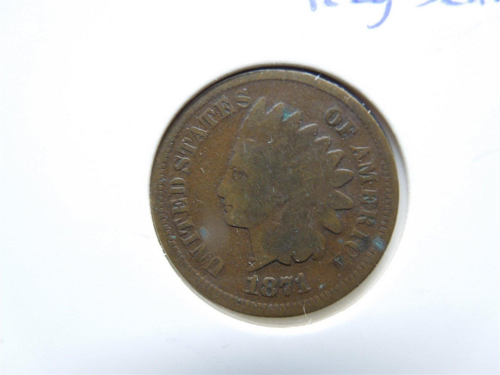 Very Scarce Semi-Key Date 1871 Indian Head Cent