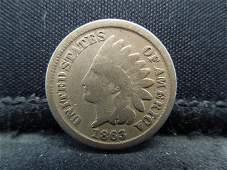 1863 CN Indian Head Cent. Civil War Year.