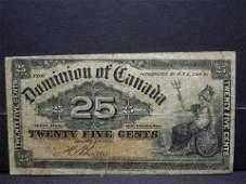 1900 Canada Twenty Five Cent Bank Note