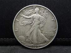 1938-D Key Date Walking Liberty Half Dollar.