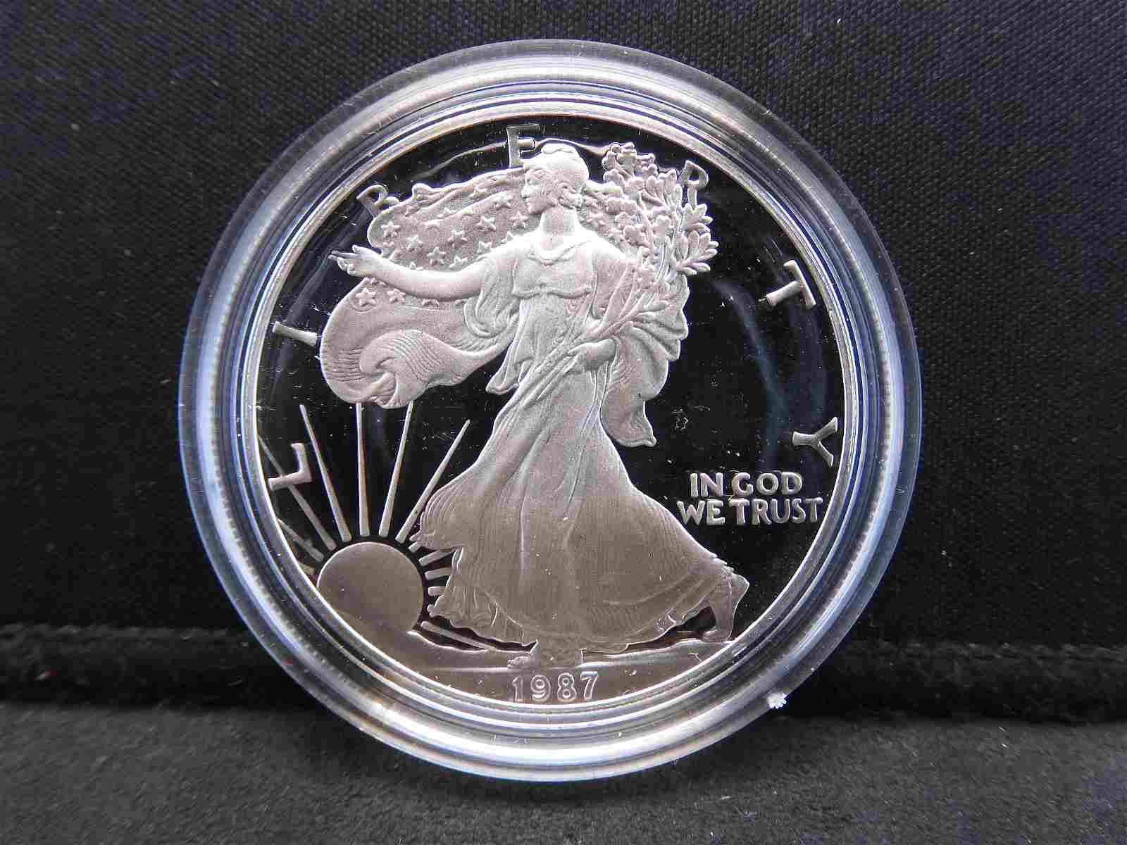 1987 S Proof, American Silver Eagle .999 Fine Silver, 1
