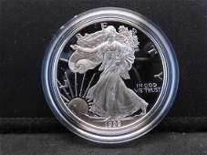 1999 P S Proof American Silver Eagle 999 Fine Silver