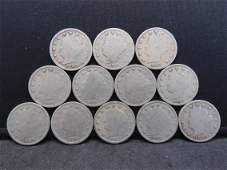 12 Different Dates Liberty Head V Nickels Neat
