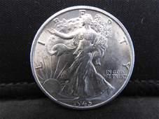 1945-S Uncirculated Walking Liberty Half Dollar.