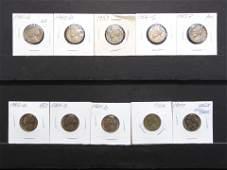 10 Jefferson Nickels Various Dates