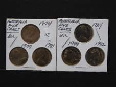 6 BU Australian five cent coins various dates
