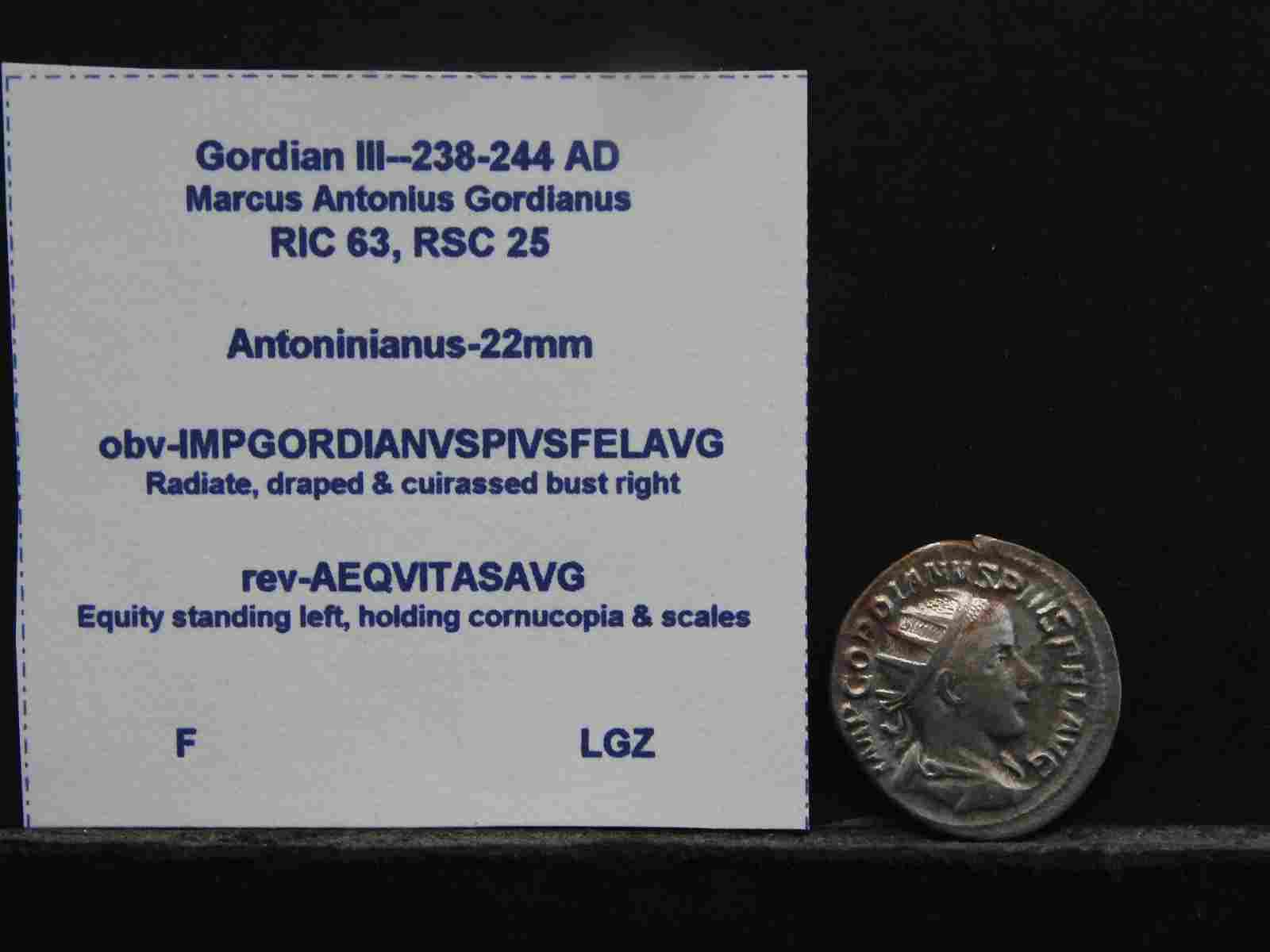 238-244 A.D. Ancient Coin - Silver