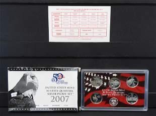 2007 Silver Proof Quarter Set. You get all 5- 90