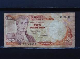 1986 Columbia 100 Pesos Oro Bank Note