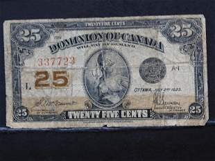 "1923 Canada ""Twenty-Five"" Cents Bank note…scarce"