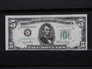 1950 Cutting Error Green Seal $5 Bank Note