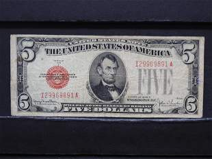 1928 F Red Seal $5 Bank Note