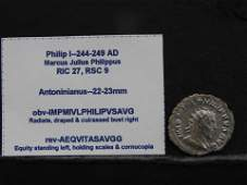 Philip the 1st  244249 AD Ancient Silver Coin