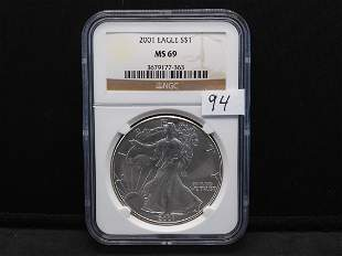 2001 NGC MS69 American Silver Eagle