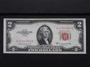 1953-B Two Dollar Red Seal Bank Note