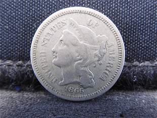 1865 Three Cent Nickel - Civil War Date