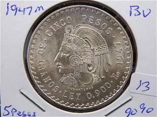 1947 M Mexico 5 Pesos.  Mayan Warrior.  90% silver.
