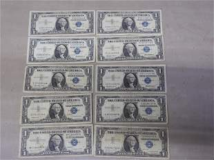 10 - 1957 $1 Silver Certificates.  Circulated.