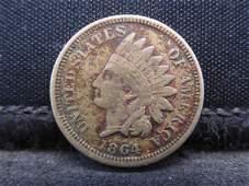 1864 CN Semi-Key Date Indian Head Cent. Civil War