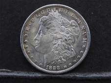 1888 LOOKS UNC MORGAN SILVER 90 DOLLAR