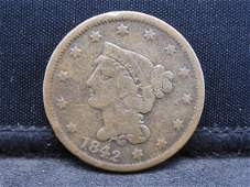 1842 Large Date Braided Hair Large Cent.