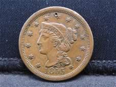 1855 Braided Hair Large Cent - Nice AU!!