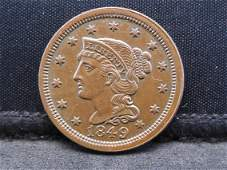 1849 Braided Hair Large Cent - AU++ Condition
