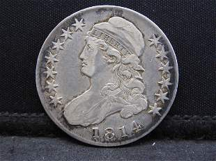 1814 Capped Bust Silver Half Dollar - Tough Early Date!