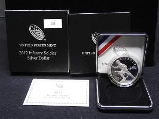 2012-W U.S. Infantry Soldier Proof Silver Dollar OGP