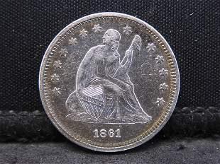 1861 Seated Liberty Silver Quarter - Civil War Date!