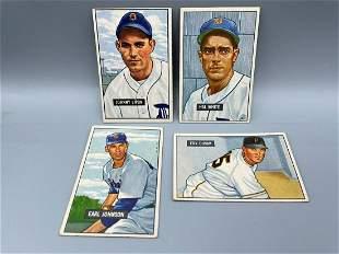 1951 Bowman Baseball Lot of 4 High Number Short Prints