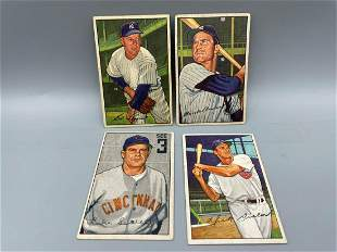 1952 Bowman Baseball Lot of 4 - Lopat, Bauer, Sewell,
