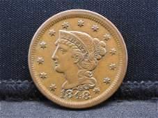 1848 Braided Hair Large Cent. Brilliant Detail!!!