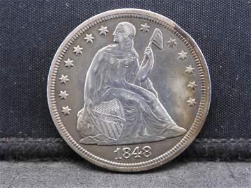 1848 Liberty Seated Dollar.  Amazing Detail & Beautiful