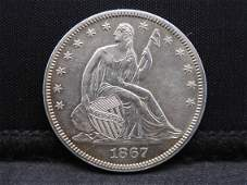 1867 Seated Liberty Silver Half Dollar - Rare!! Ultra