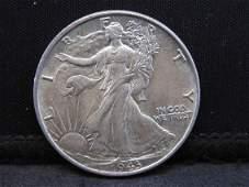 1943 Uncirculated Walking Liberty Half Dollar.