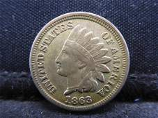 1863 Copper Nickel Indian Head Cent XF Civil War Era