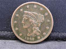 1842 Small Date Braided Hair Large Cent.