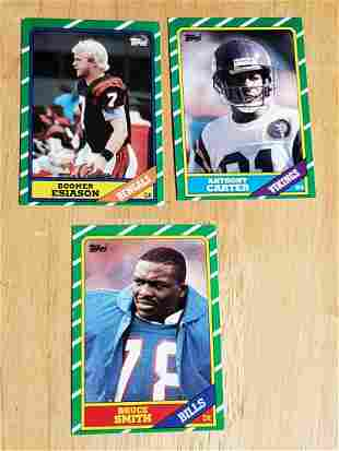 1986 Topps Football Rookie Card Trio - Bruce Smith,
