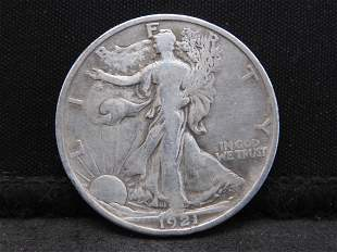 1921-S Walking Liberty Silver Half Dollar - F/VF