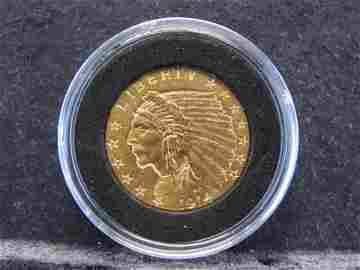 1914-D $2.5 Indian Head Gold Coin - Full Feathers -