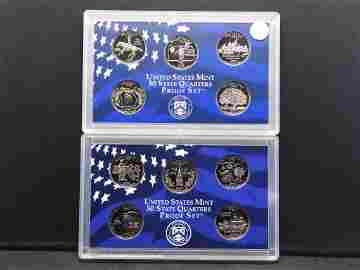1999-S and 2000-S Clad States Quarter Proof Sets.  GEM