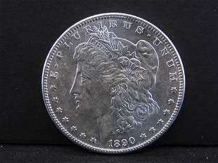 1890-S Morgan Silver Dollar.  Choice UNC.  Scarce