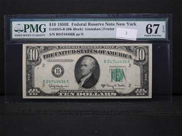 Series 1950-E $10 Federal Reserve Note New York PMG 67