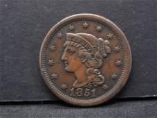 1851 Braided Hair Large Cent -- HIGH GRADE- BEAUTIFUL