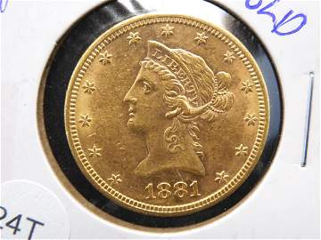 1881-S GOLD Coronet Head Ten Dollar Gold Eagle